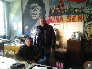 """Corrado Delle Donne e Renato Parimbelli nella storica sede del Consiglio di Fabbrica dell'Alfa Romeo """"Spina Est"""""""