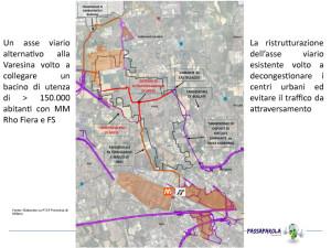 assetto viario complessivo sovrapposto degli interventi previsti dalla Provincia di Milano e viabilità di attraversamento interno di Arese rielaborato da Aresini.it